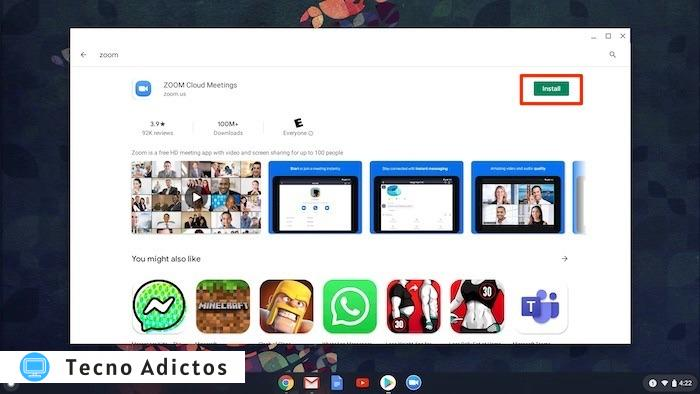 Utilice Zoom Chromebook Video Install