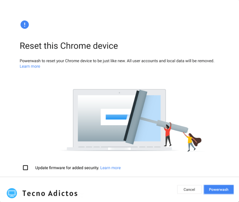 Powerwash Chromebook Confirmar después de reiniciar