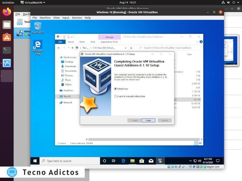 Windows On Vbox Additions Finalizar instalación