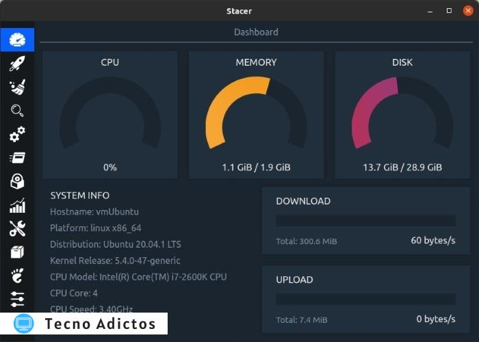 Optimice Linux con Stacer Realtime Info