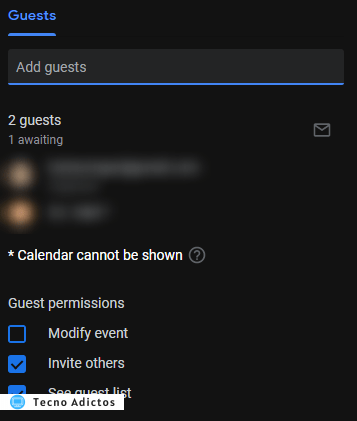 Contactos de Google Calendar Attachments