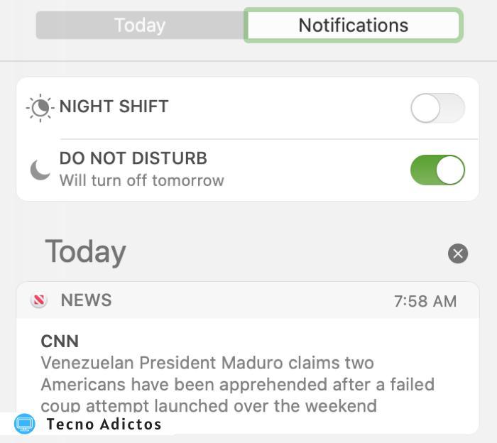 Centro de notificaciones de No molestar de Mac