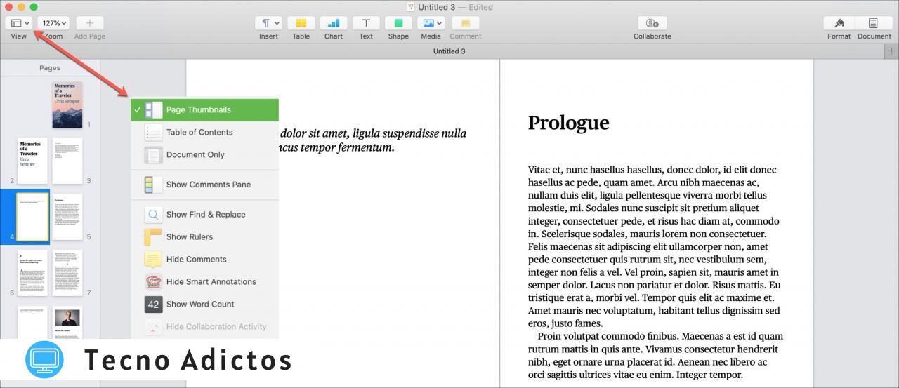 Páginas Miniaturas de páginas de libros en Mac