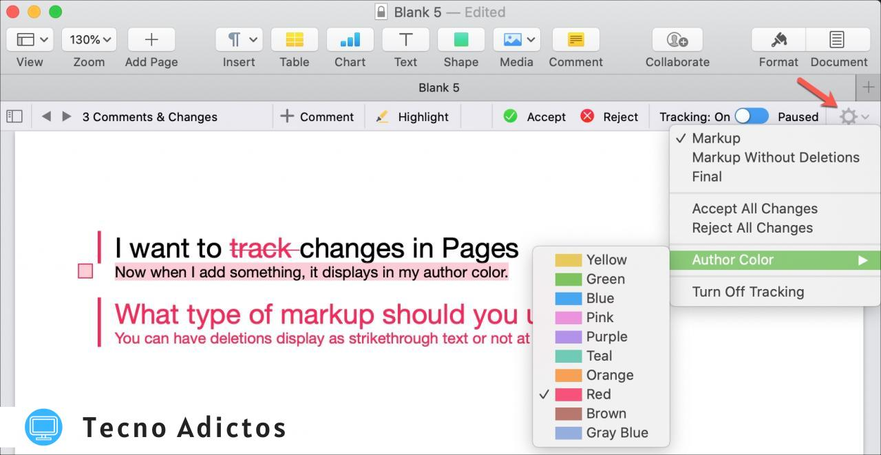 Pages Mac Cambiar color de autor