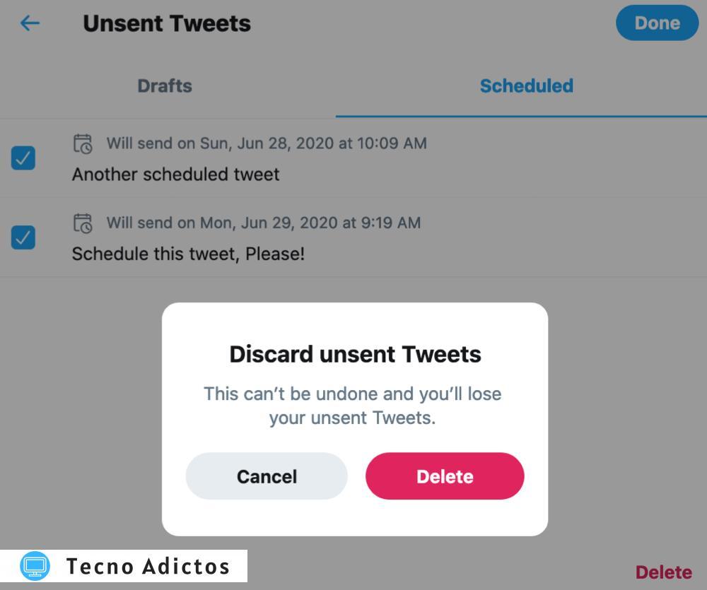 Twitter Descartar y eliminar tweets programados