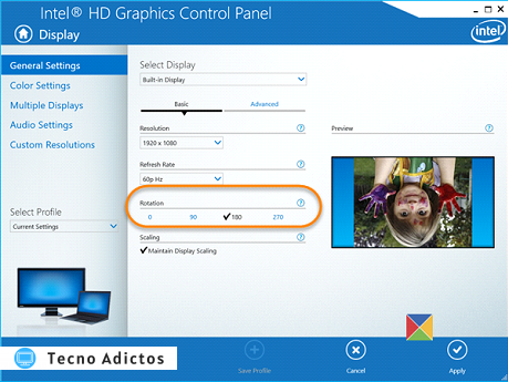 Panel de control gráfico HD