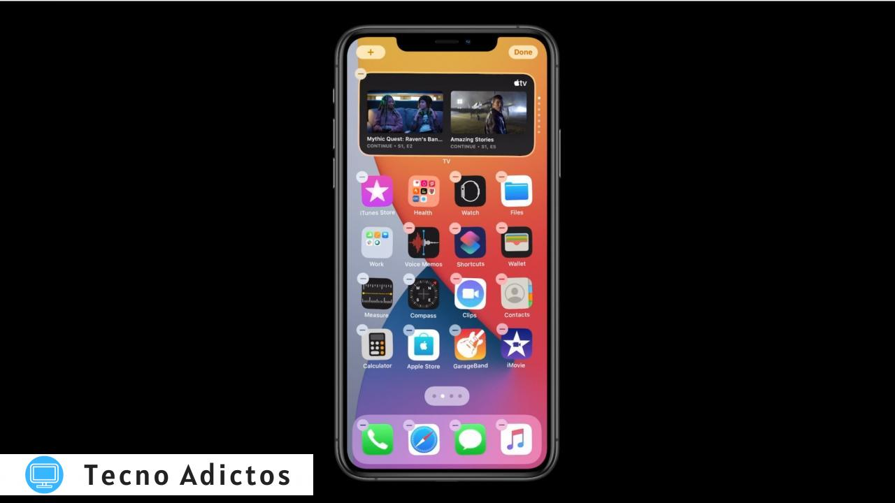 Widgets Smart Stack en iPhone: ejemplo de pantalla de inicio