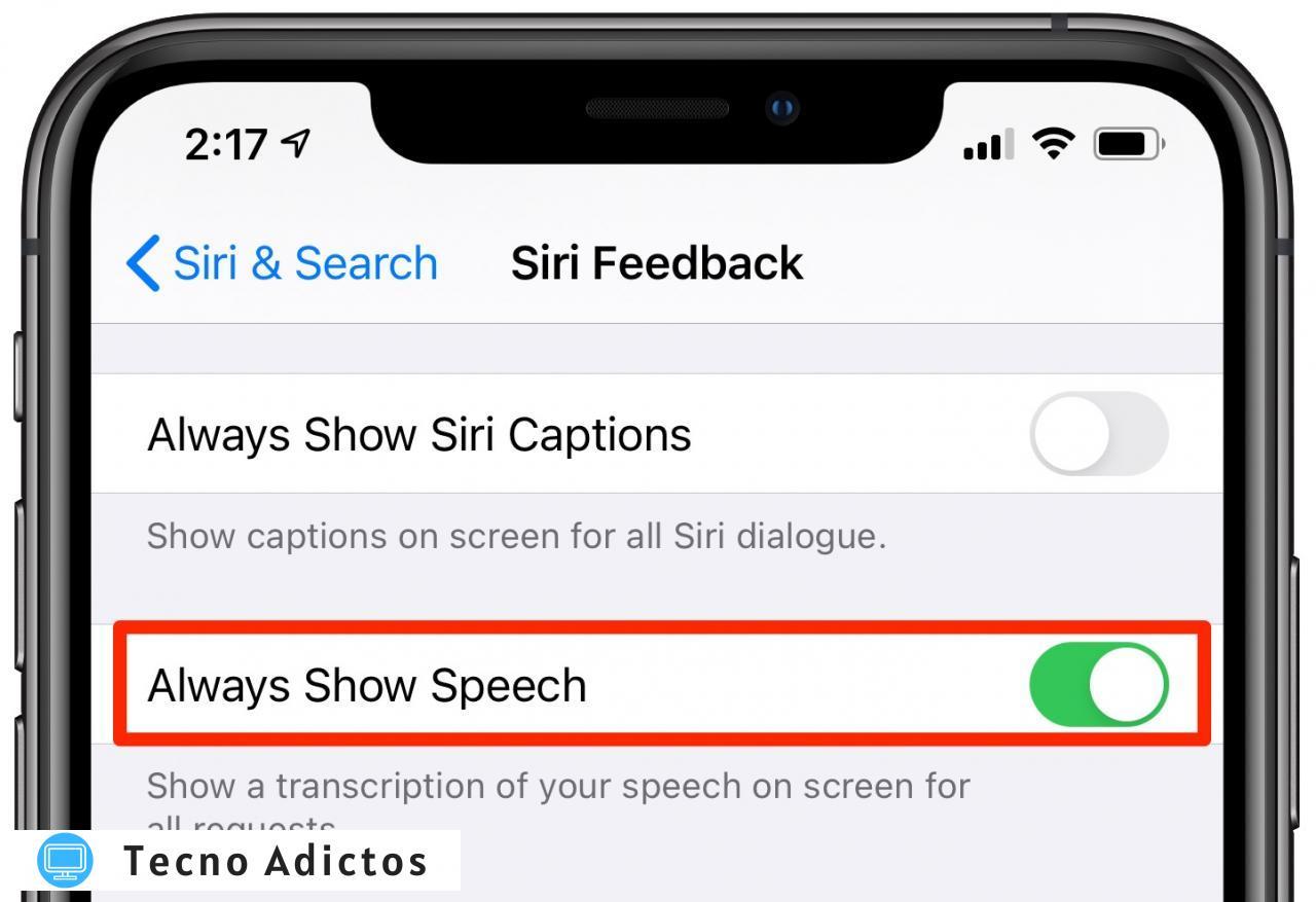 Transcripciones de Siri: la opción Mostrar siempre voz habilitada en la configuración de Siri