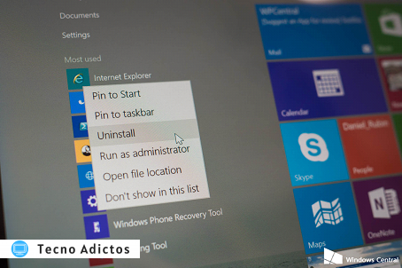 Desinstalar aplicaciones en Windows