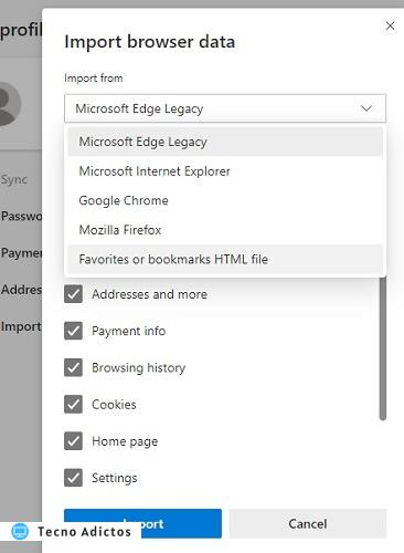 Chrome Bookmarks Edge Importar archivo HTML
