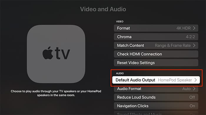 Configurar audio de cine en casa Apple Tv Homepod Tvos de salida de audio predeterminada