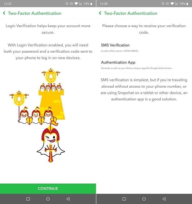 Cómo verificar la autenticación de dos factores de inicio de sesión de Snapchat