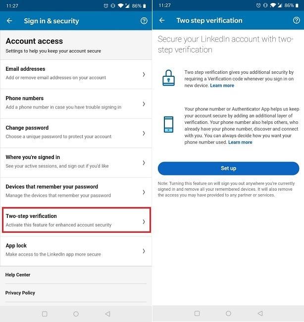 Cómo activar la opción de activación de Linkedin Mobile de autenticación de dos factores