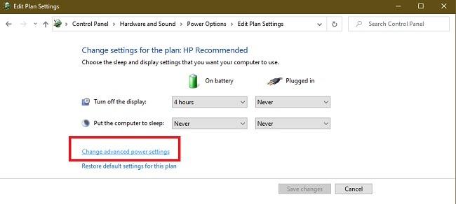 Cómo reparar el error de falla del estado de energía del controlador en Windows 10 Control Search Advanced