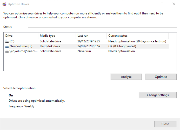Verifique el estado del disco duro Windows Optimizar Defrag