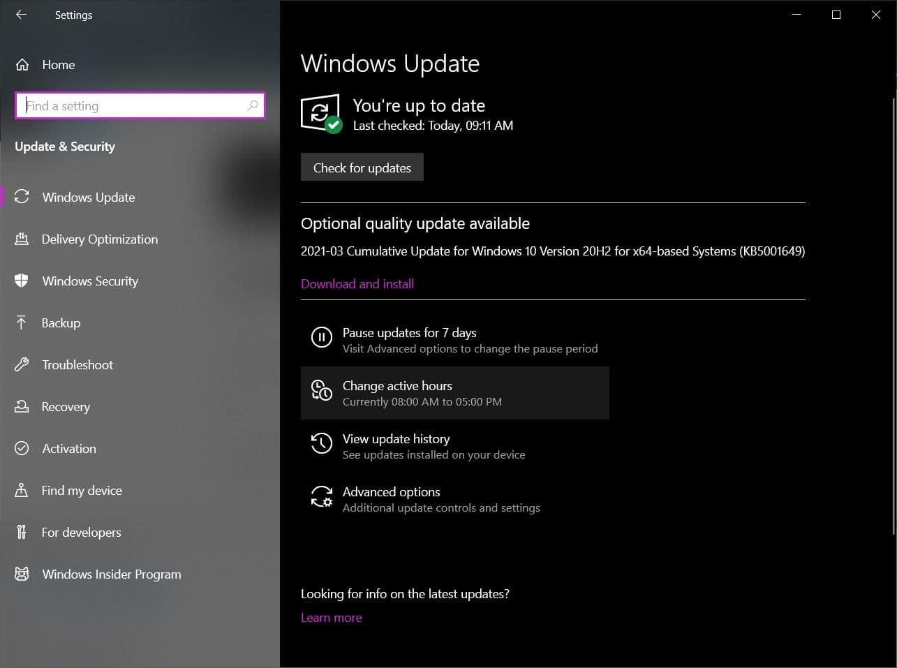 Actualización de Windows 1
