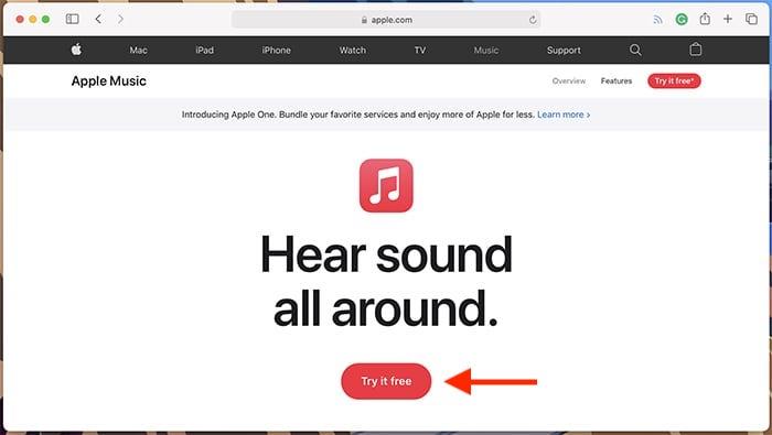 Sitio de Apple Music en el sitio web de Apple