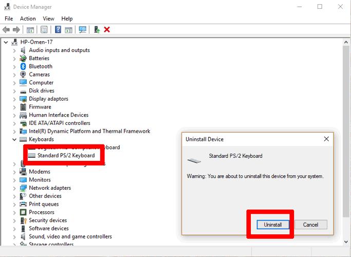 Desinstalación del teclado del ordenador portátil que no funciona