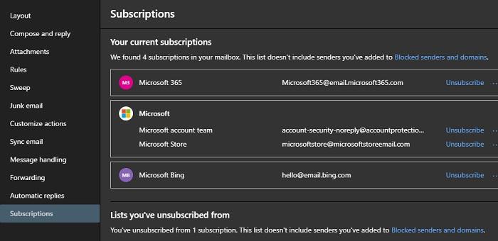 Todas las cuentas de correo electrónico Suscripciones de Oulook 2