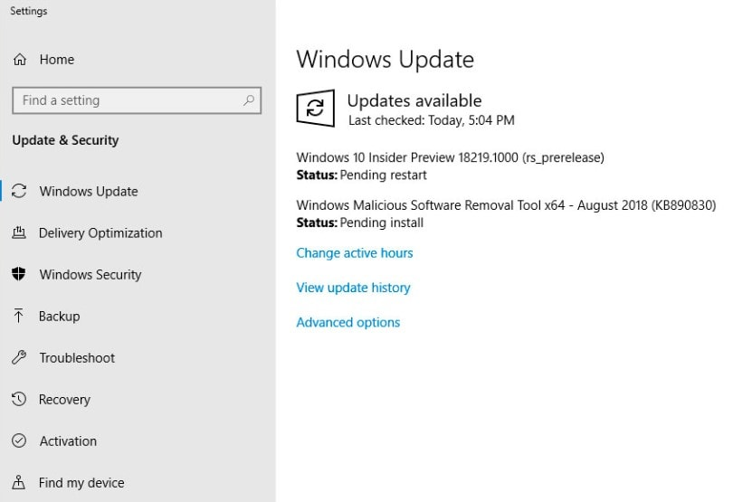 Windows 10 Insider Preview Build 18219 (19H1)