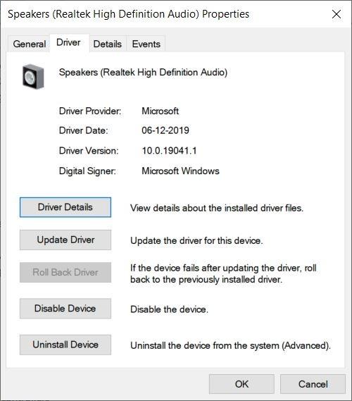 Opción de retroceso del controlador de Windows 10 atenuada