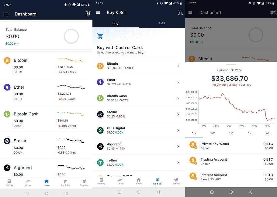 Las aplicaciones de Android rastrean los precios de las criptomonedas de Bitcoin Blockchain Wallet
