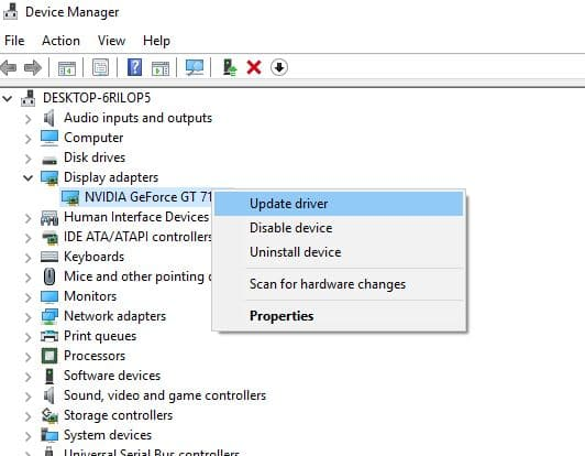 update NVDIA graphic Driver