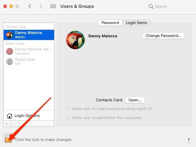 Candado para usuarios y grupos de Mac