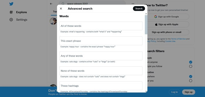 How To View Twitter No Account Advanced Search